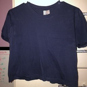 navy blue crop top with pocket in front